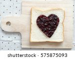 toast with jam in shape of... | Shutterstock . vector #575875093