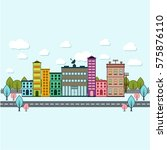 daylight city scape vector... | Shutterstock .eps vector #575876110