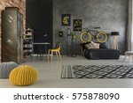 grey apartment with bed  desk ... | Shutterstock . vector #575878090