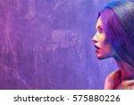 portrait of attractive young... | Shutterstock . vector #575880226