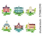 school buildings illustration | Shutterstock .eps vector #575882590