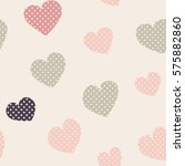 seamless hearts pattern with... | Shutterstock .eps vector #575882860
