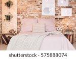 loft bedroom with double bed... | Shutterstock . vector #575888074