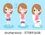 cute cartoon woman feel... | Shutterstock . vector #575891638