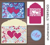 wedding invitation or greeting...   Shutterstock .eps vector #575893420