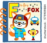 note book paper with fox the... | Shutterstock .eps vector #575909884