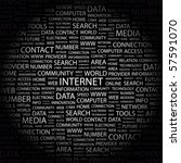 internet. word collage on black ... | Shutterstock .eps vector #57591070