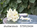 elegant bridal bouquet of white ... | Shutterstock . vector #575915434
