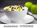bowl of porridge with apples... | Shutterstock . vector #575929963