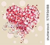 beautiful floral heart.... | Shutterstock .eps vector #575936488
