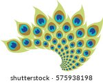 stylized peacock feathers.... | Shutterstock .eps vector #575938198