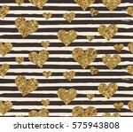 gold glittering heart confetti...   Shutterstock .eps vector #575943808