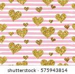 gold glittering heart confetti...   Shutterstock .eps vector #575943814