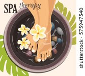 pedicure spa female feet | Shutterstock .eps vector #575947540