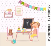 illustration of preschool kid... | Shutterstock .eps vector #575958430