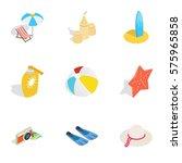summer travel icons set.... | Shutterstock .eps vector #575965858