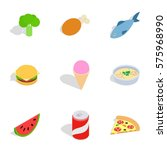 healthy food icons set.... | Shutterstock .eps vector #575968990