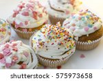 colorful cupcakes with white... | Shutterstock . vector #575973658