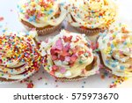 birthday cupcakes with white... | Shutterstock . vector #575973670