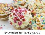 valentine's day cupcake...   Shutterstock . vector #575973718