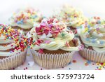 valentine's day cupcake with...   Shutterstock . vector #575973724