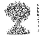 doodle art tree. zentangle... | Shutterstock .eps vector #575974993