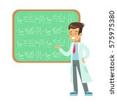 boy mathematician writing... | Shutterstock .eps vector #575975380