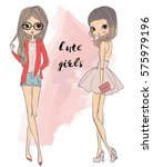 cute cartoon girls | Shutterstock .eps vector #575979196