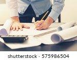 architect  engineer working on... | Shutterstock . vector #575986504