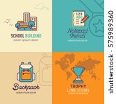education flat icons  school... | Shutterstock .eps vector #575989360