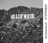 hollywood sign  black and white | Shutterstock . vector #575990800