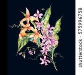 watercolor vintage floral... | Shutterstock . vector #575996758