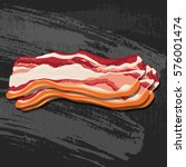 bacon strips on black chalk... | Shutterstock .eps vector #576001474