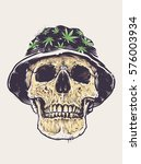 rasta skull in hat with... | Shutterstock .eps vector #576003934