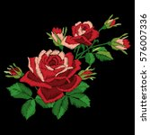 red rose embroidery on black... | Shutterstock .eps vector #576007336