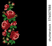 Red Roses Embroidery With...