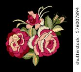 red rose embroidery on black... | Shutterstock .eps vector #576007894