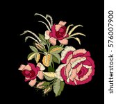 red rose embroidery on black... | Shutterstock .eps vector #576007900