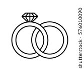 wedding rings linear icon. thin ... | Shutterstock .eps vector #576010090