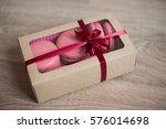 pink sweet strawberry macarons...   Shutterstock . vector #576014698