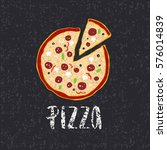 pizza lettering with hand drawn ... | Shutterstock .eps vector #576014839
