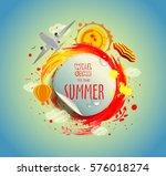 summer sticker on watercolor... | Shutterstock .eps vector #576018274