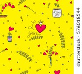 seamless pattern with heart... | Shutterstock .eps vector #576018544