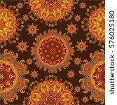 boho style flower mandala.... | Shutterstock .eps vector #576025180