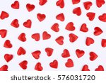 red hearts on white background. | Shutterstock . vector #576031720