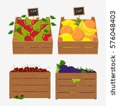 wooden box for fruit and... | Shutterstock . vector #576048403