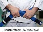 fighter is wearing white kimono ... | Shutterstock . vector #576050560