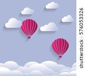 paper cut design of pink... | Shutterstock .eps vector #576053326