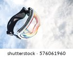 clear lens ski goggles in the... | Shutterstock . vector #576061960