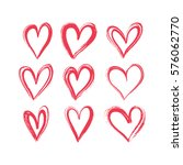 set of hand drawn hearts.... | Shutterstock .eps vector #576062770